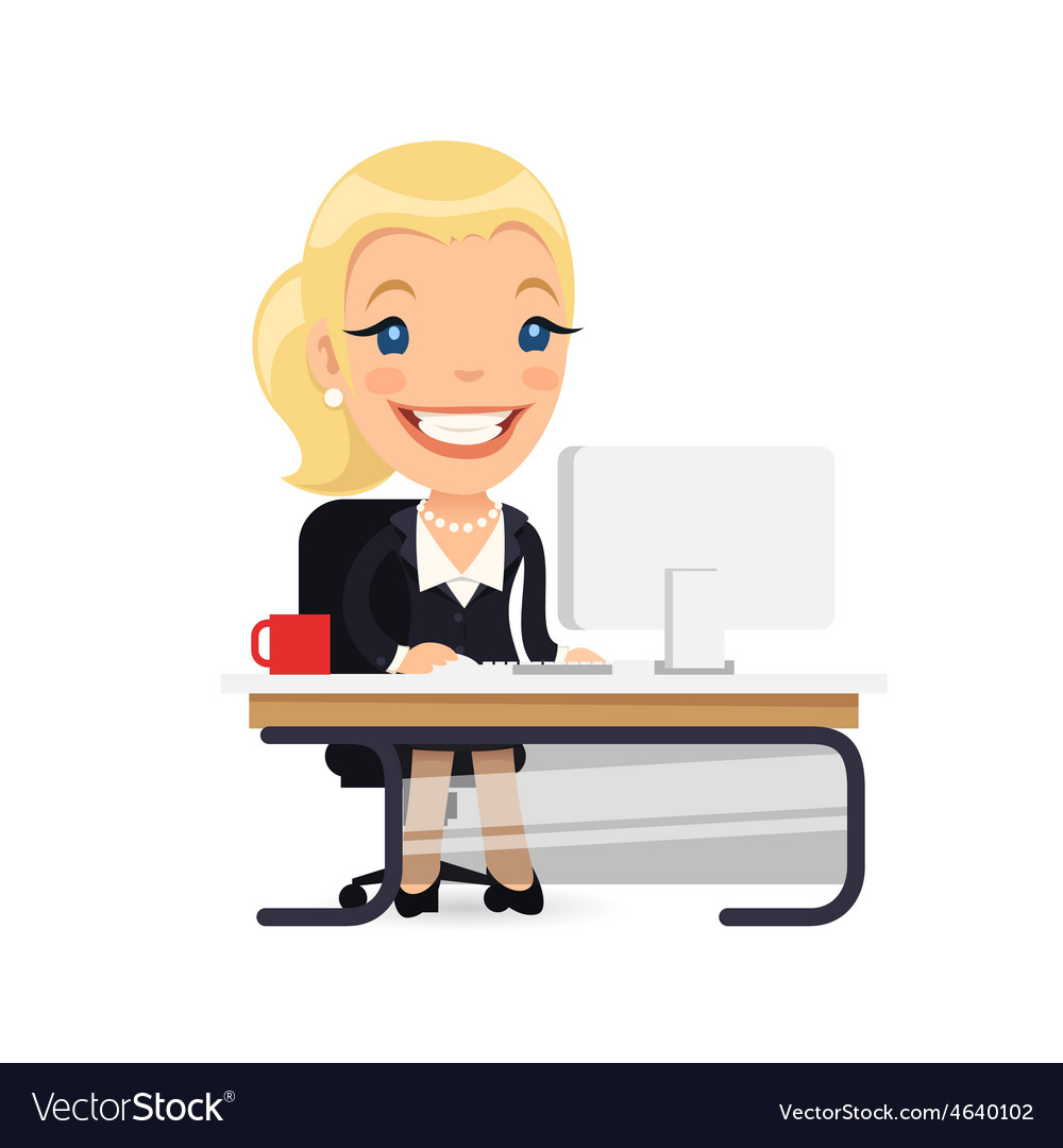 Business lady at her desk vector | Price: 3 Credit (USD $3)