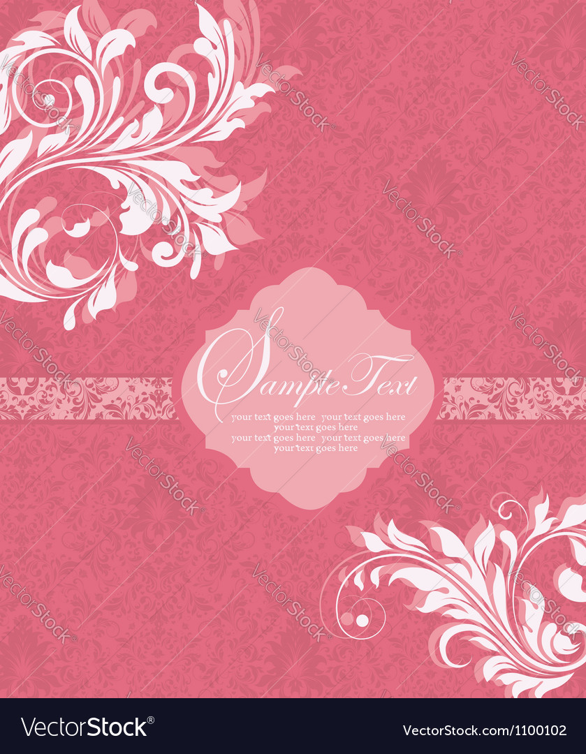 Damask invitation vintage card with floral element vector | Price: 1 Credit (USD $1)