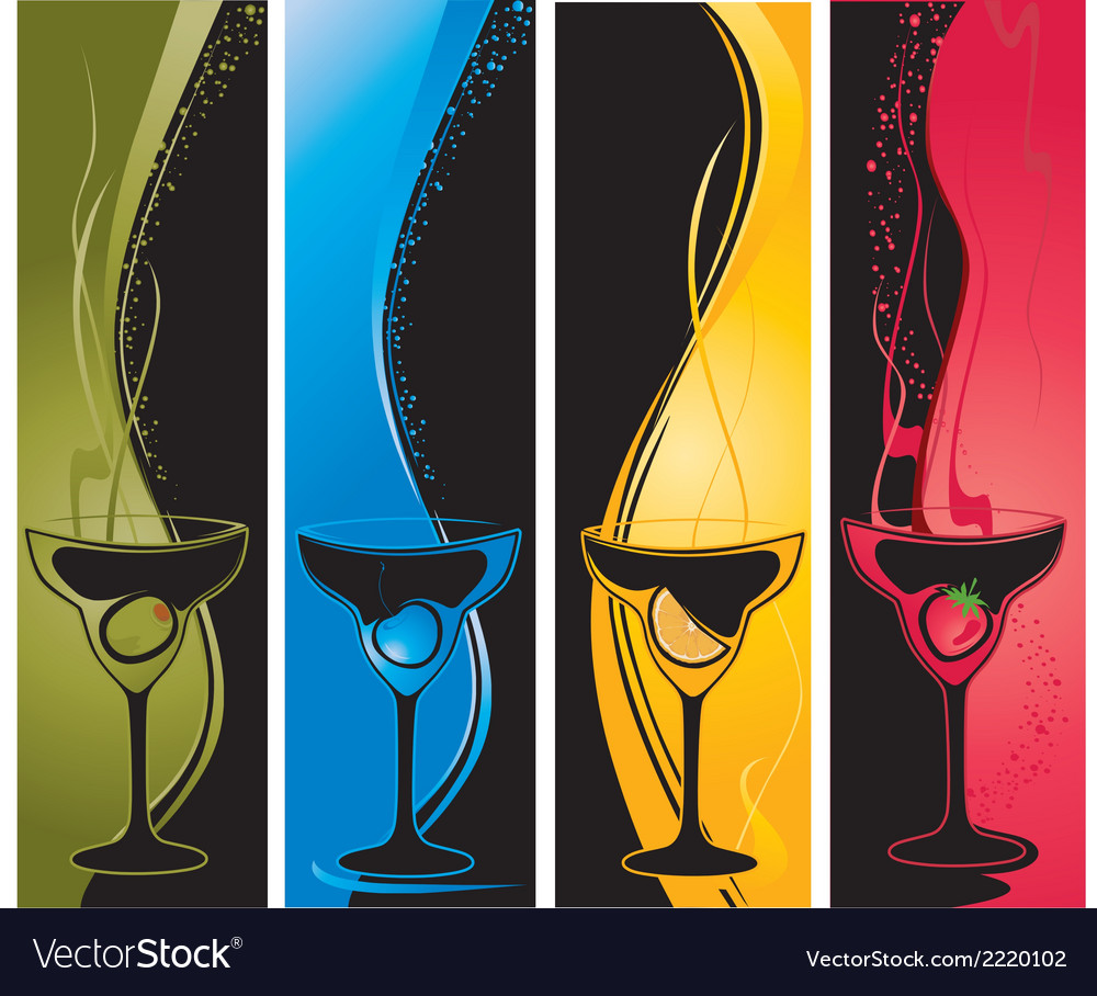 Four cocktail banners vector | Price: 1 Credit (USD $1)