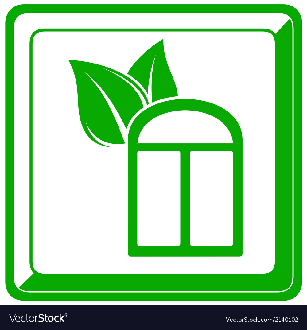 Green icon with window and leaf vector | Price: 1 Credit (USD $1)