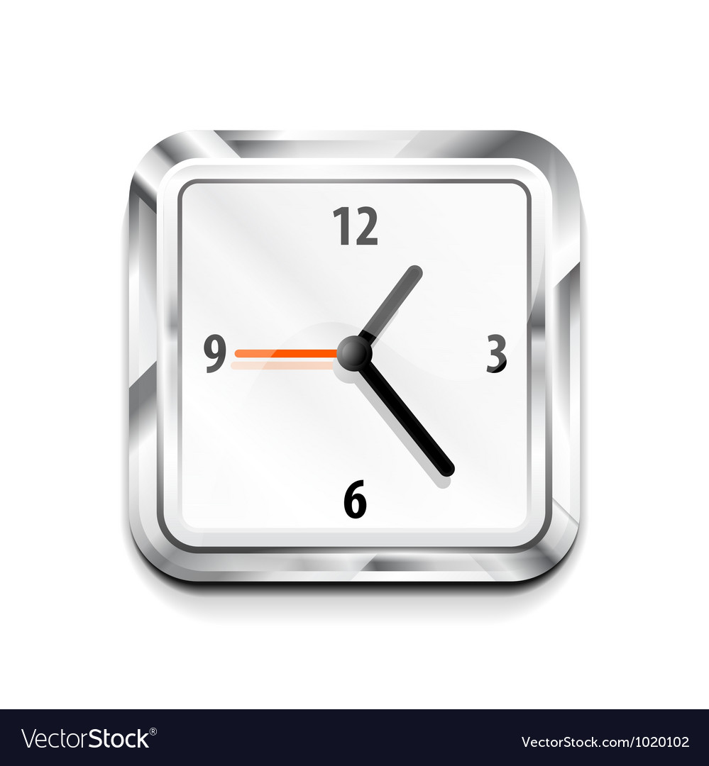 Metal square clock icon vector | Price: 1 Credit (USD $1)