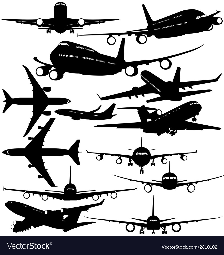 Silhouettes of passenger airliner vector | Price: 1 Credit (USD $1)