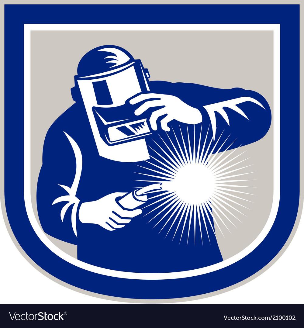 Welder welding torch front shield retro vector | Price: 1 Credit (USD $1)