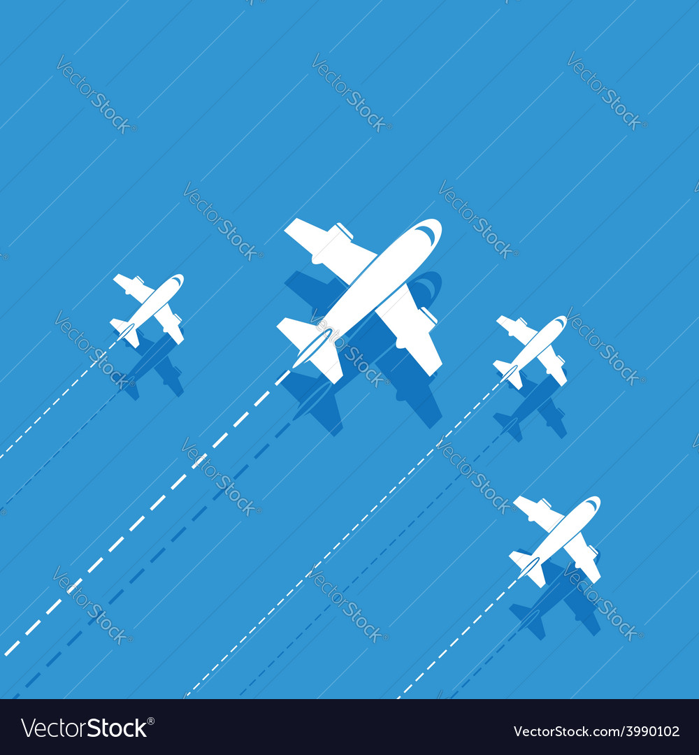 White aircraft on a blue background vector | Price: 1 Credit (USD $1)