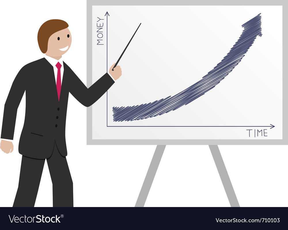 Businessman and graph vector | Price: 1 Credit (USD $1)