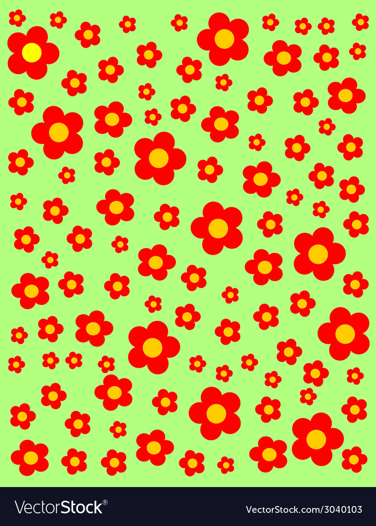 Green meadow with red flowers background vector | Price: 1 Credit (USD $1)