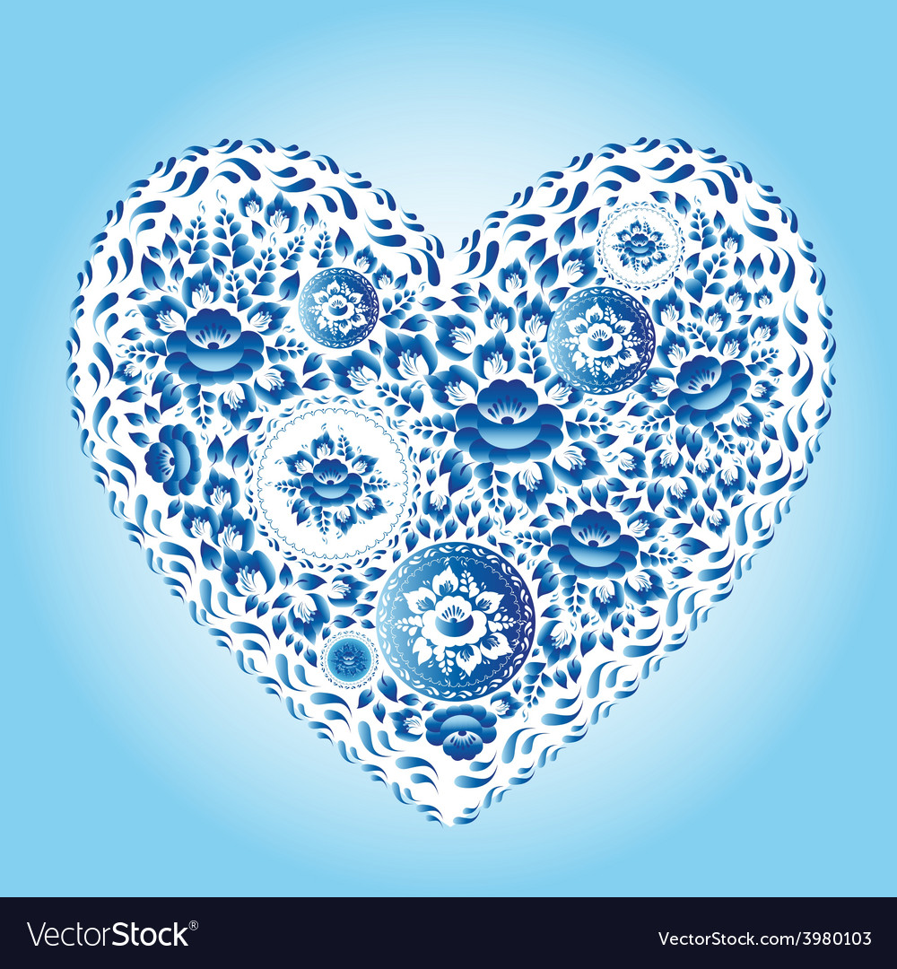 Heart made of blue flowers romantic cartoon vector | Price: 1 Credit (USD $1)