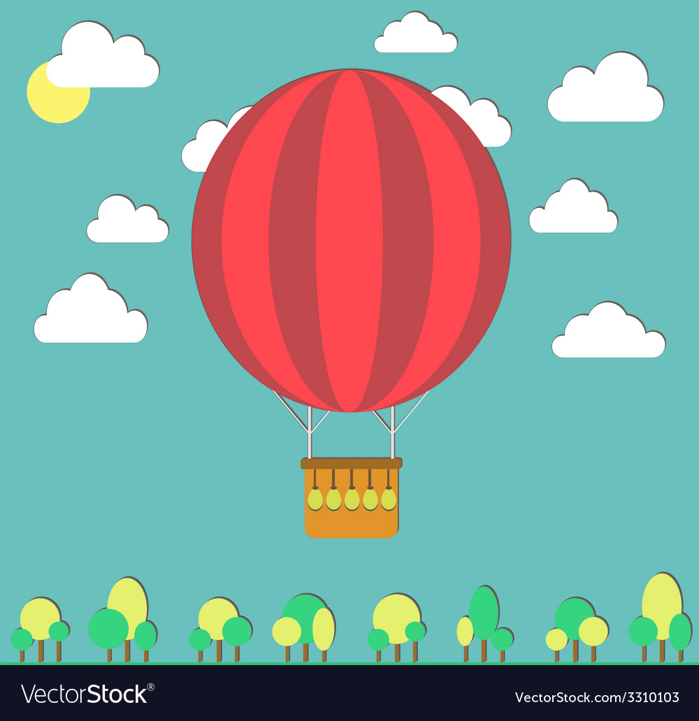 Hot air balloon in the sky and small trees vector | Price: 1 Credit (USD $1)