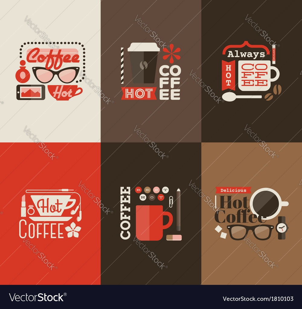 Hot coffee set of design elements vector | Price: 1 Credit (USD $1)