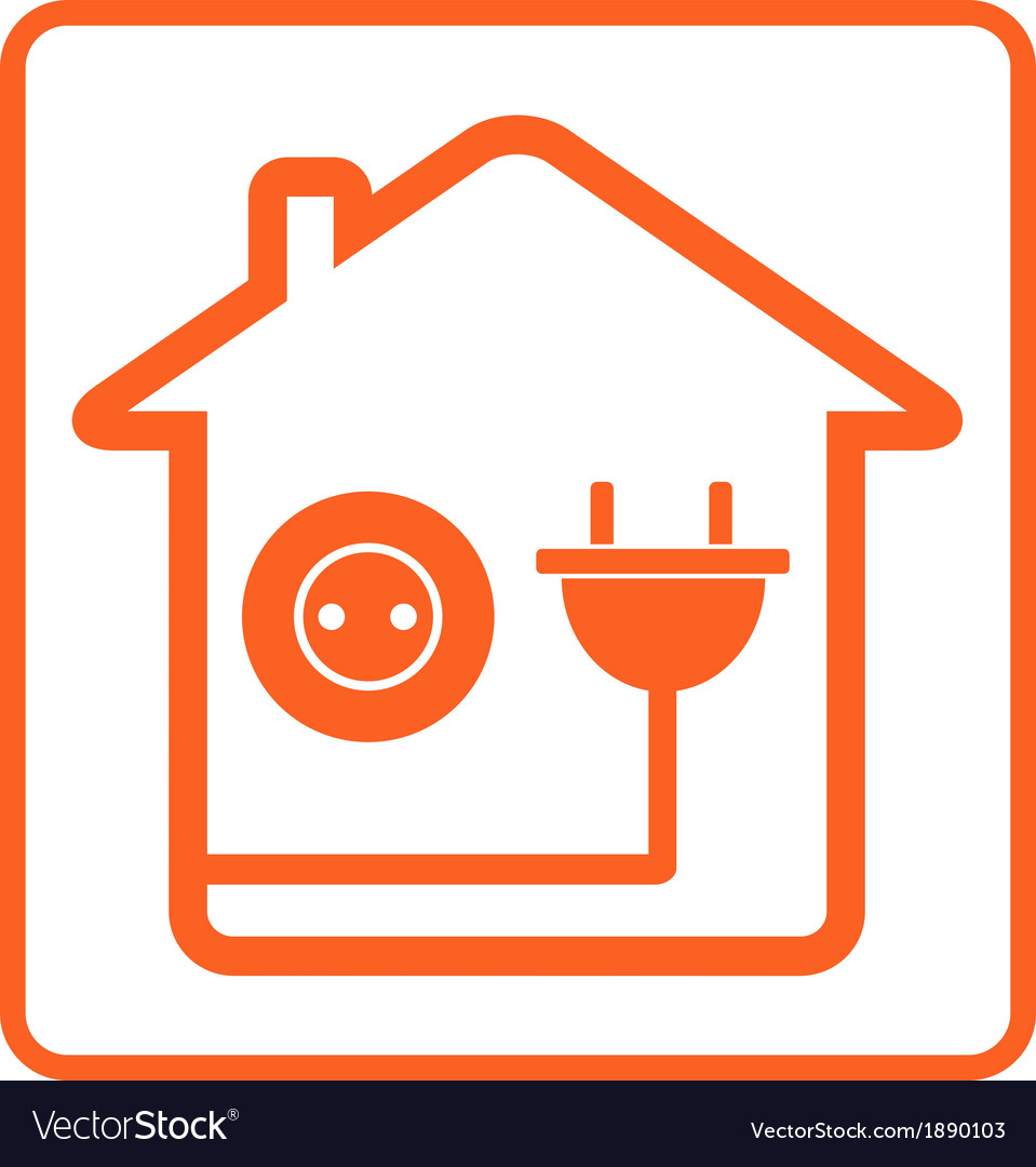 Icon with home socket and plug vector | Price: 1 Credit (USD $1)
