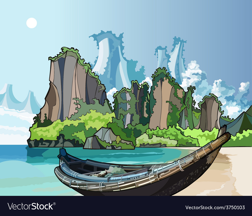 Native boat on the bay ocean vector | Price: 3 Credit (USD $3)