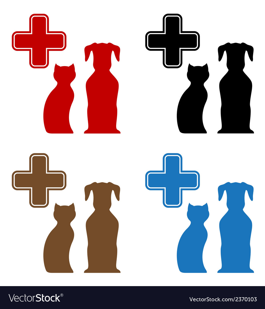 Set colorful veterinary care icon vector | Price: 1 Credit (USD $1)