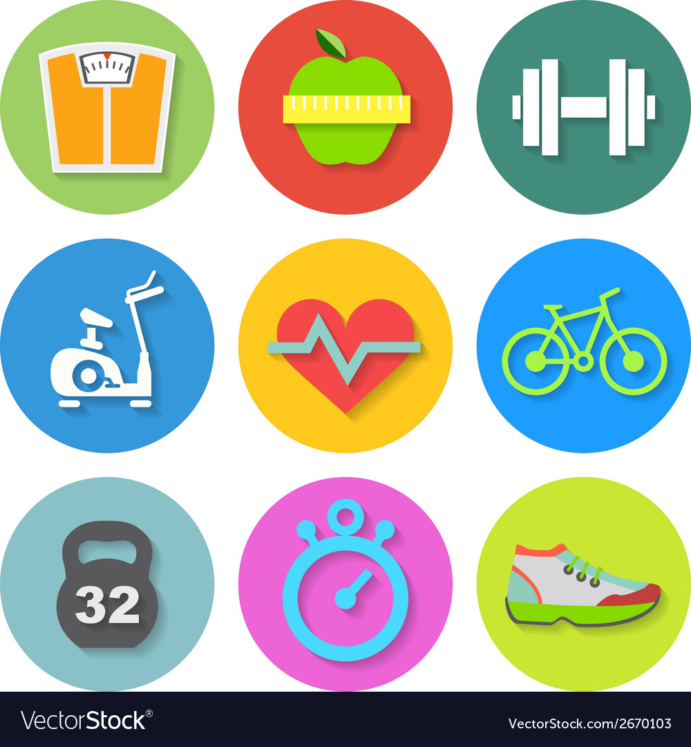 Set of flat fitness icons vector | Price: 1 Credit (USD $1)