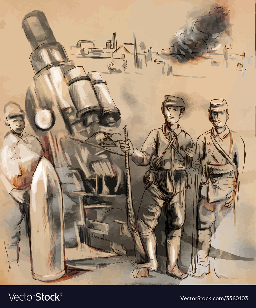 Soldiers posing in front of a large howitzer vector | Price: 3 Credit (USD $3)