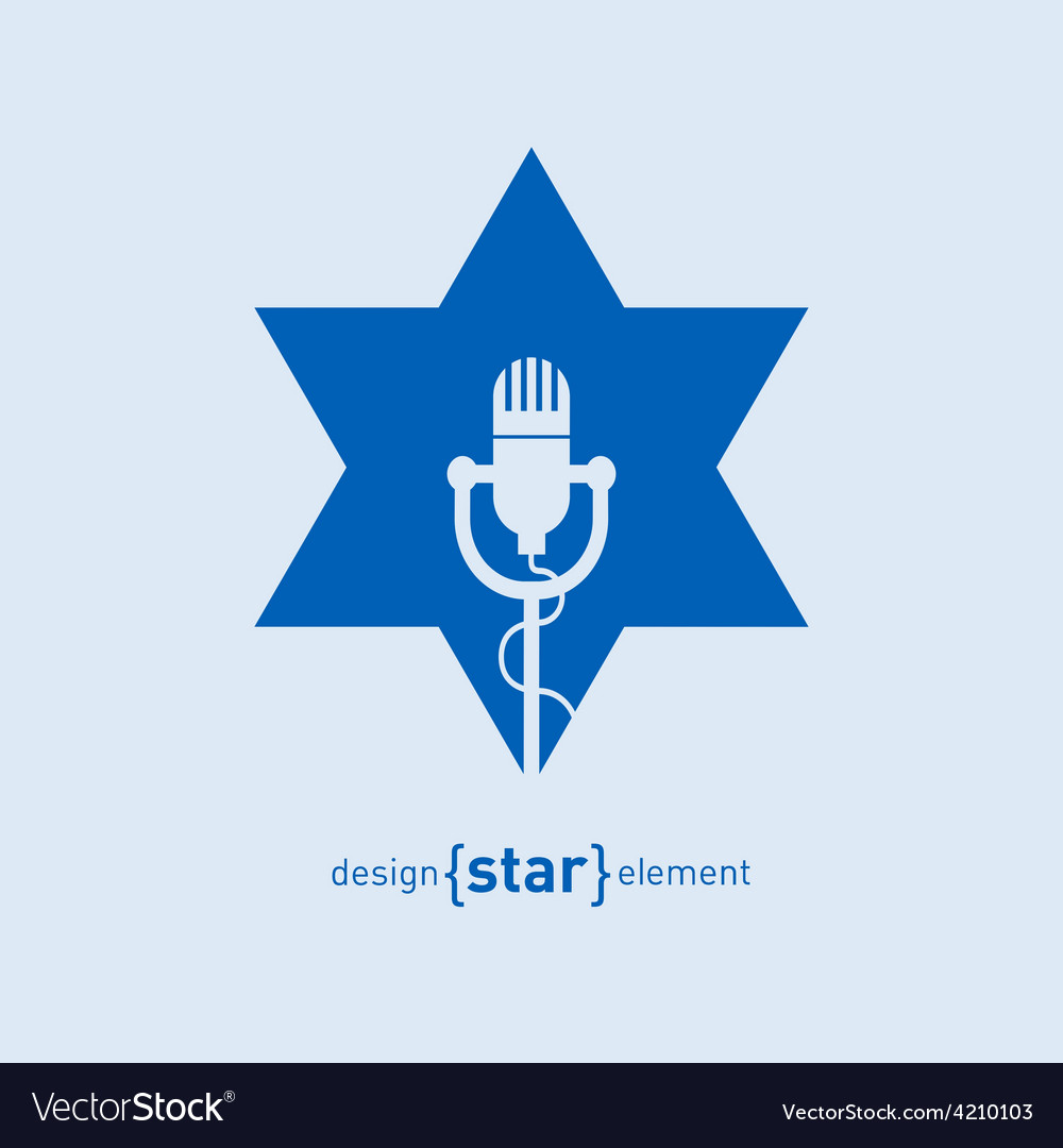 Star with microphone abstract design element vector | Price: 1 Credit (USD $1)