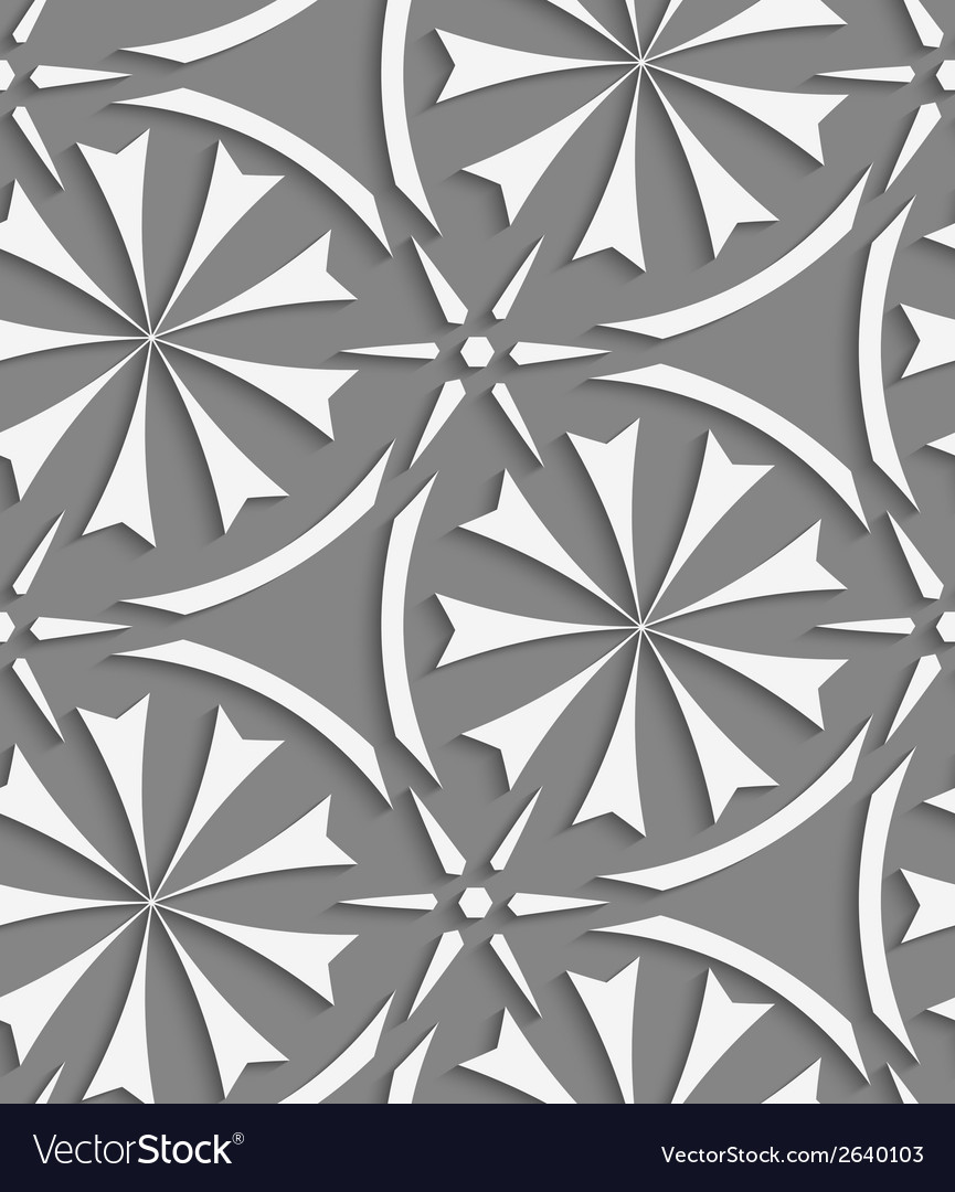 White geometrical flowers and stars seamless vector | Price: 1 Credit (USD $1)