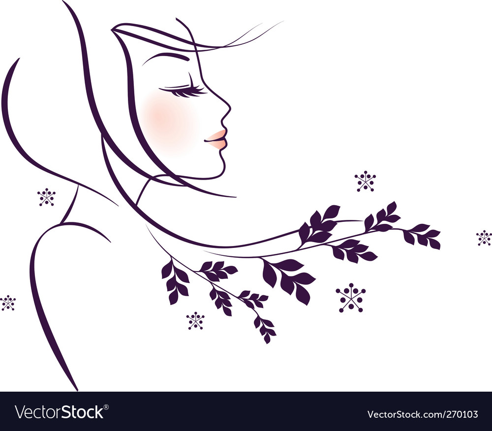 Woman floral vector | Price: 1 Credit (USD $1)