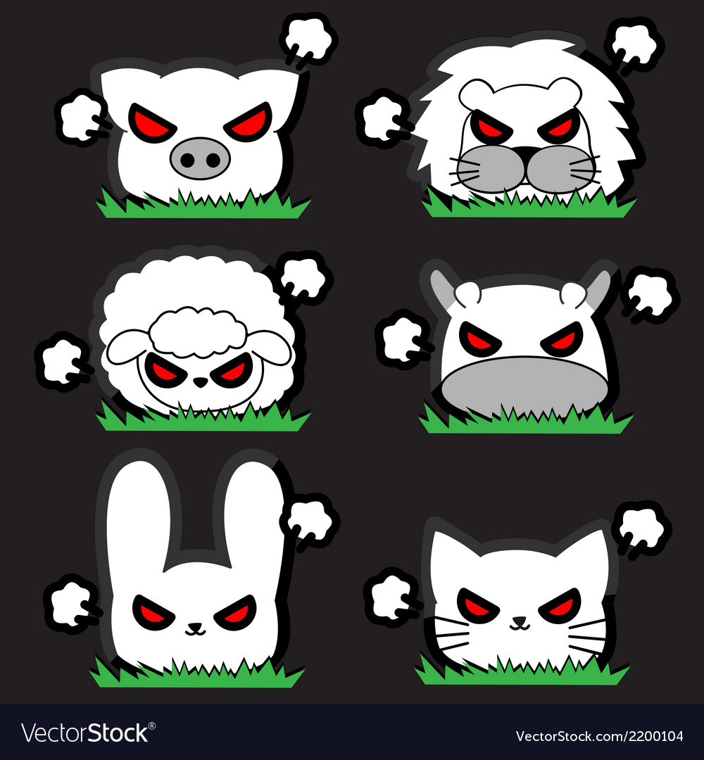 Angry little animal set vector | Price: 1 Credit (USD $1)