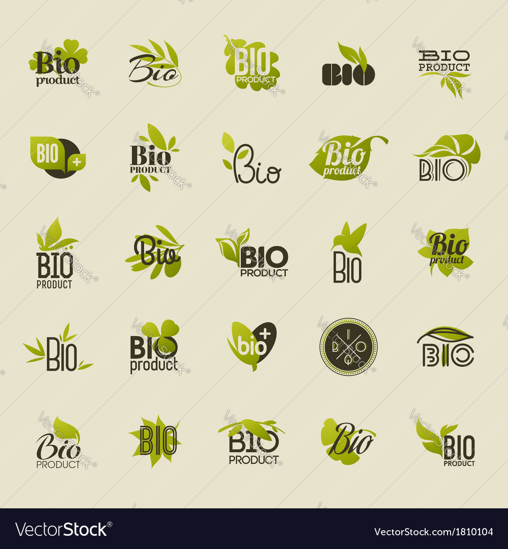 Bio product set of labels and emblems vector | Price: 1 Credit (USD $1)