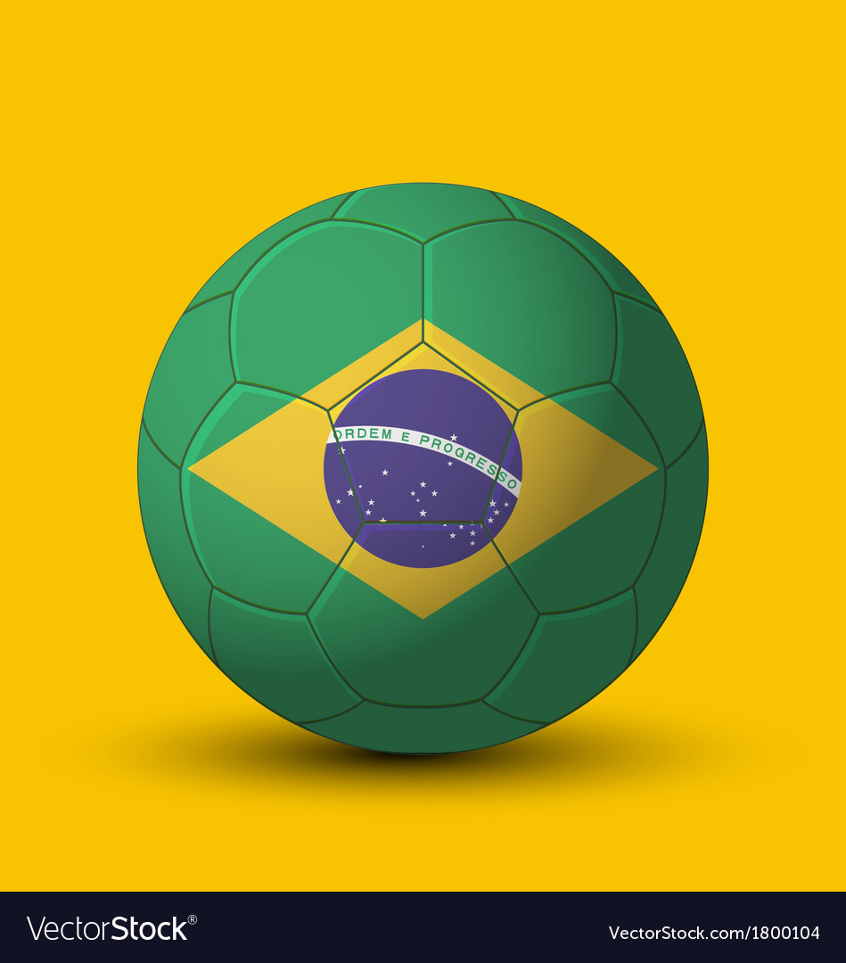 Brazil flag on soccer ball on yellow background vector | Price: 1 Credit (USD $1)