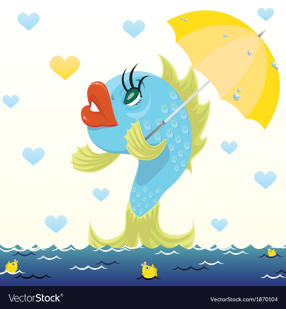 Cartoon fish with umbrella vector | Price: 1 Credit (USD $1)