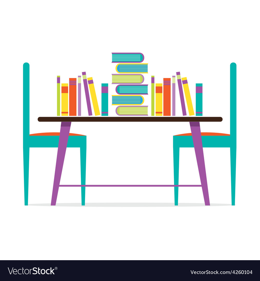 Colorful chairs and books on table vector | Price: 1 Credit (USD $1)