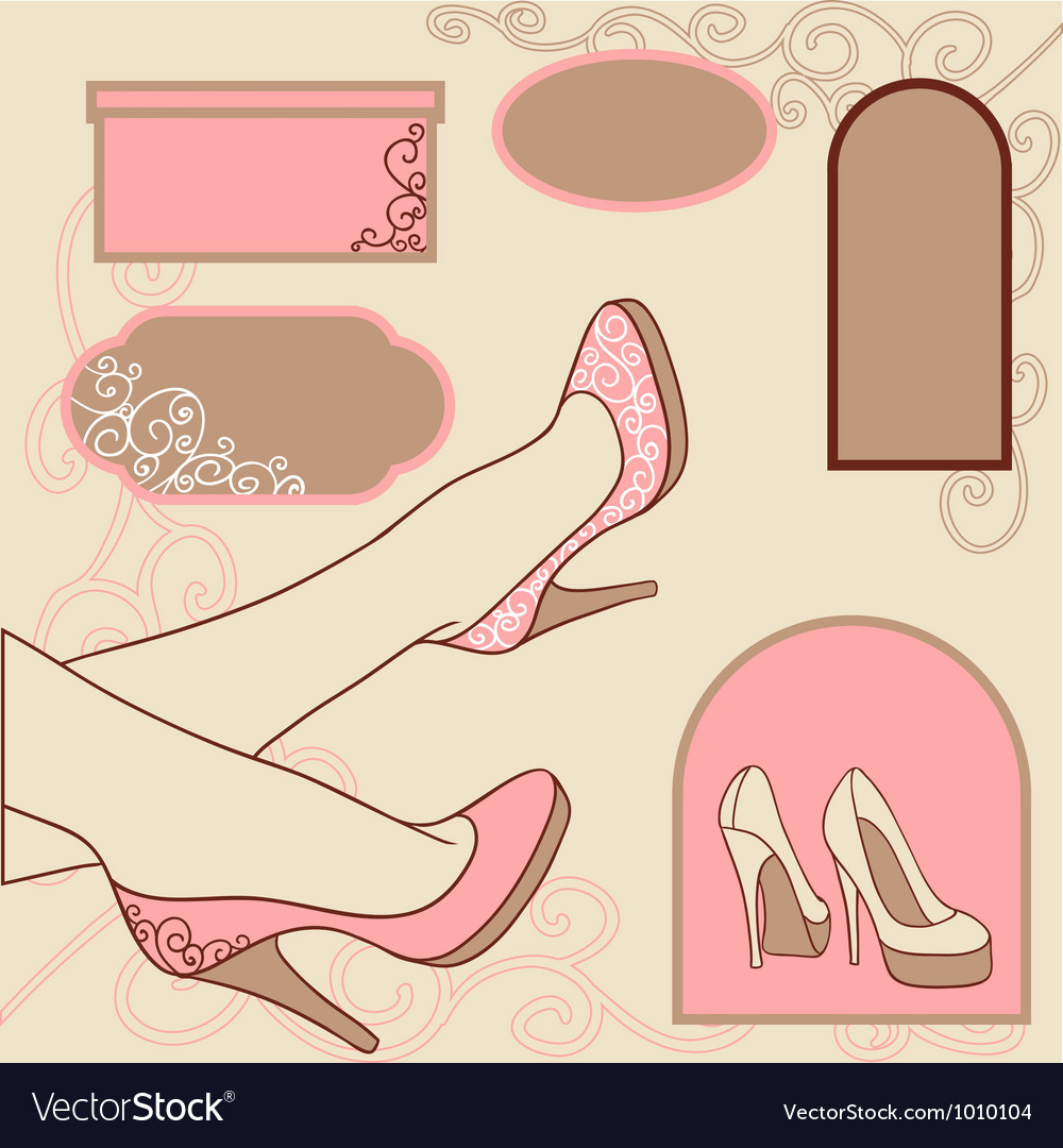 Fashion background with feminine shoe vector | Price: 1 Credit (USD $1)