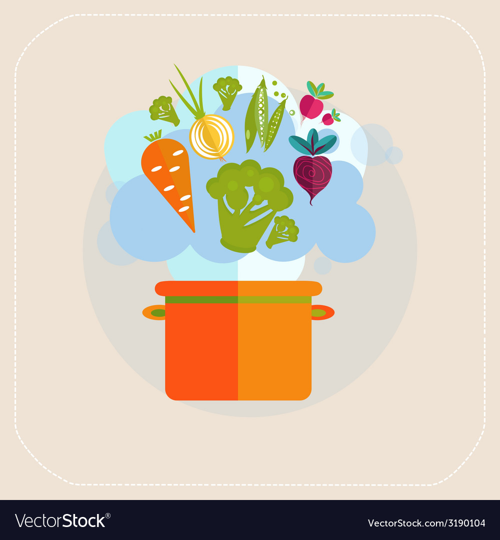 Healthy pan and vegetables icon vector | Price: 1 Credit (USD $1)