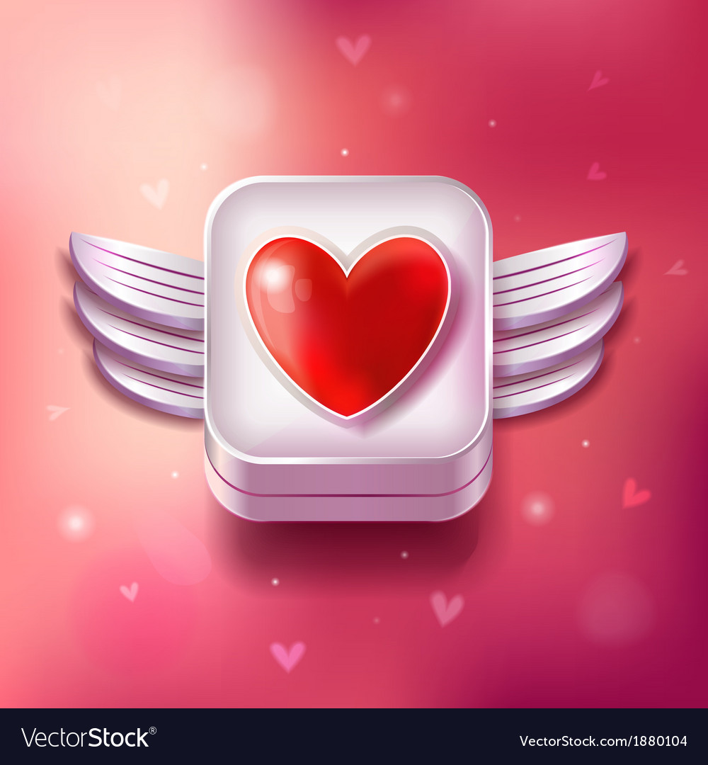 Heart valentines day icon with sparkles vector | Price: 3 Credit (USD $3)