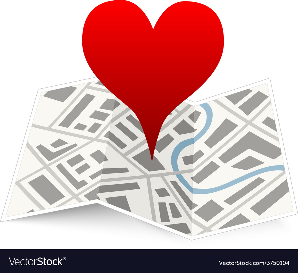 Love pin on map gps location icon isolated on vector   Price: 1 Credit (USD $1)