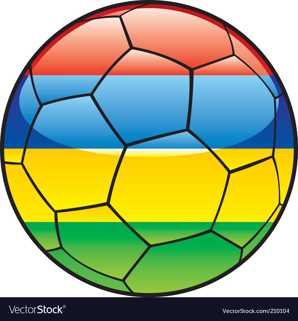 Mauritius flag on soccer ball vector | Price: 1 Credit (USD $1)