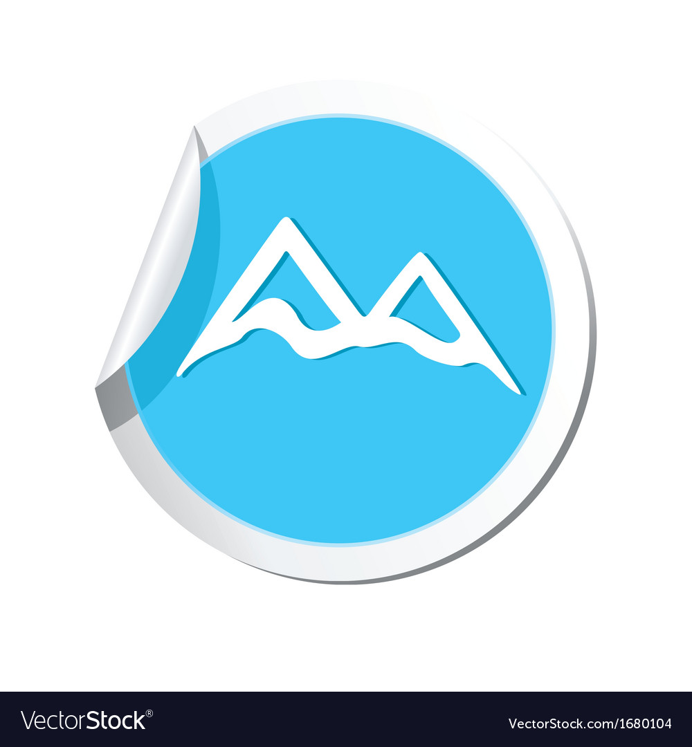 Mountain icon round blue vector | Price: 1 Credit (USD $1)