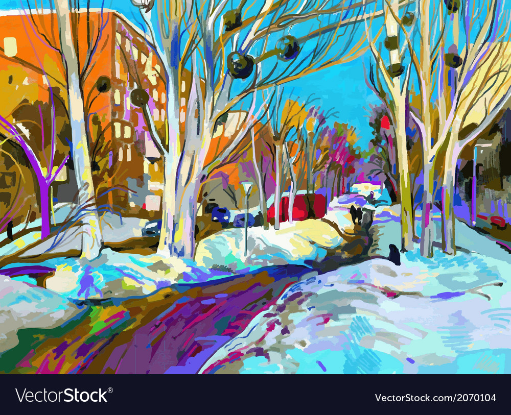 Original digital painting of winter cityscape vector | Price: 1 Credit (USD $1)