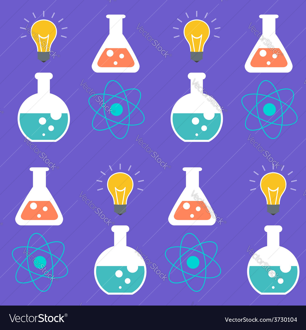 Seamless pattern science symbols over purple vector | Price: 1 Credit (USD $1)
