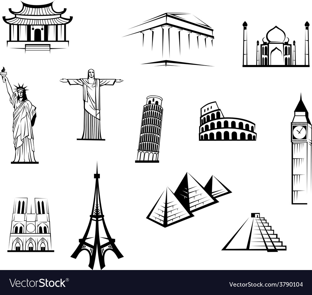 Set of black and white worldwide landmarks vector | Price: 1 Credit (USD $1)