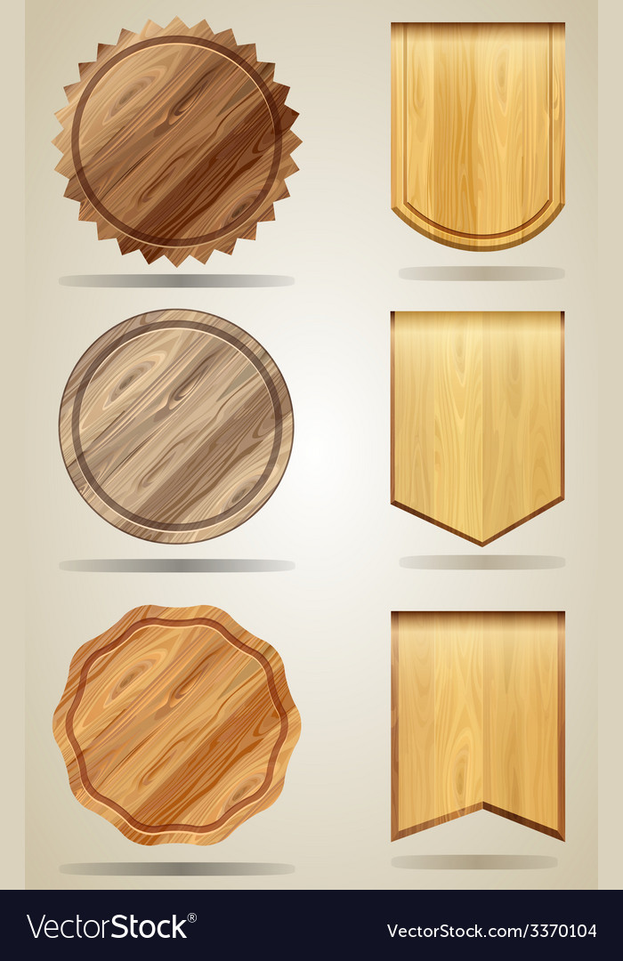 Set of wood elements for design vector | Price: 3 Credit (USD $3)