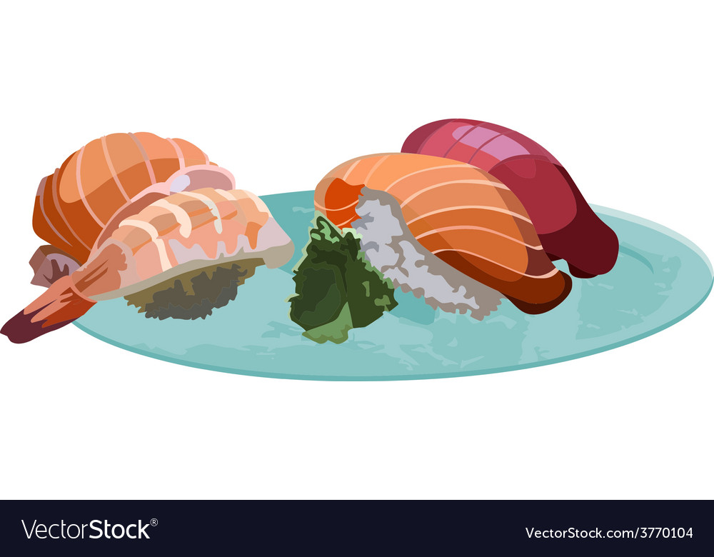 Sushi on the plate vector | Price: 1 Credit (USD $1)
