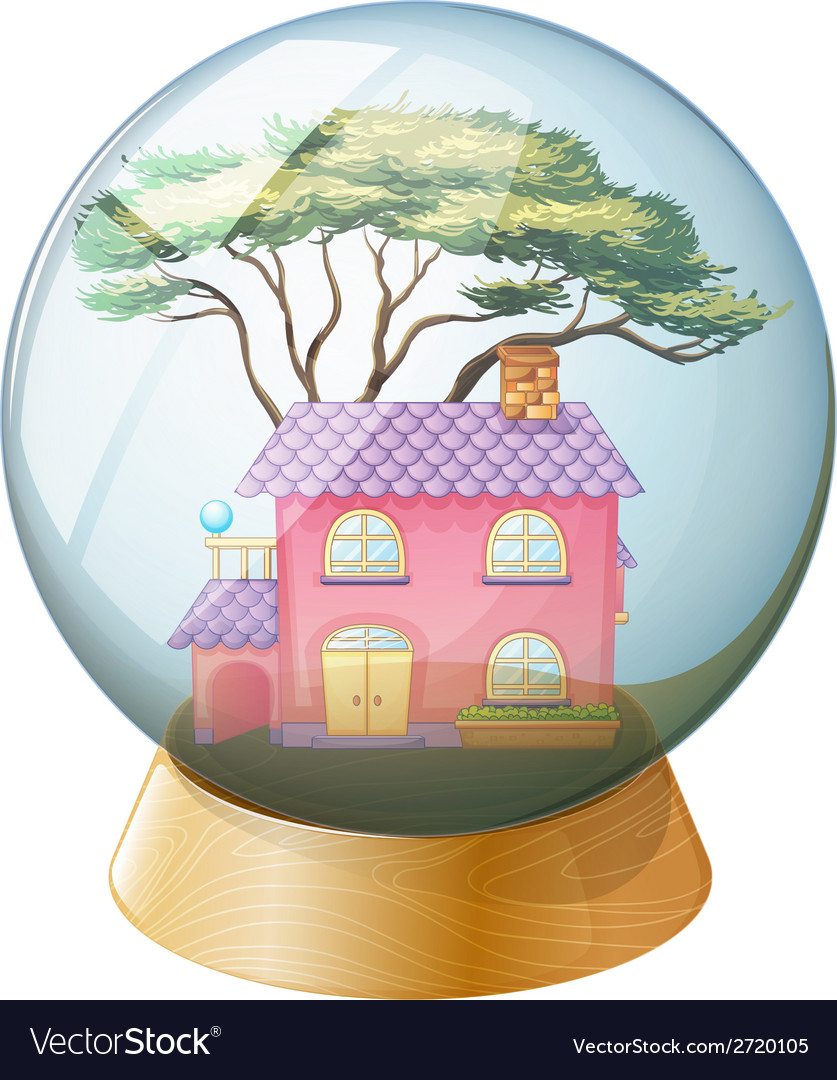 A crystal ball with a beautiful house inside vector | Price: 1 Credit (USD $1)