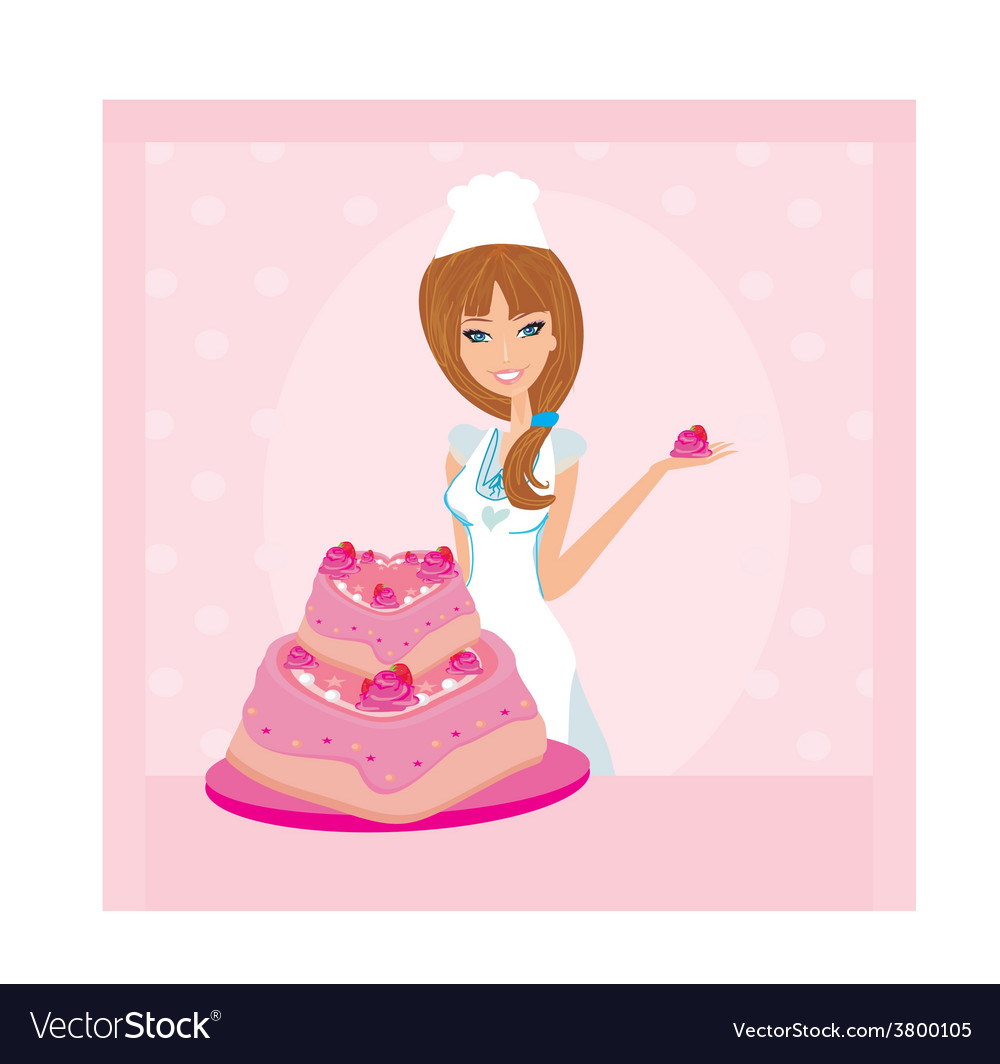 Baking a cake of lady baker making a cake vector | Price: 1 Credit (USD $1)