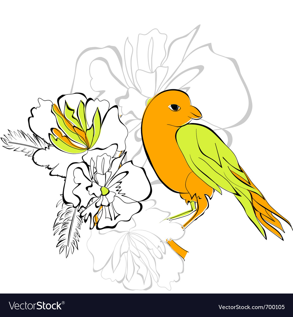 Bird on floral background vector | Price: 1 Credit (USD $1)