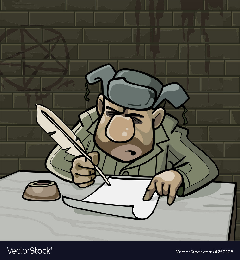 Cartoon male inmate writes a pen on paper vector | Price: 3 Credit (USD $3)