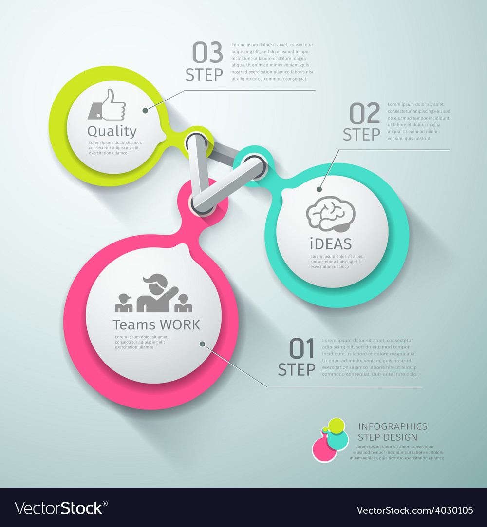Colorful circle connection step infographics vector | Price: 3 Credit (USD $3)
