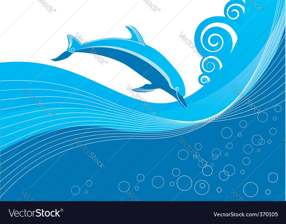Dolphin in waves vector | Price: 1 Credit (USD $1)