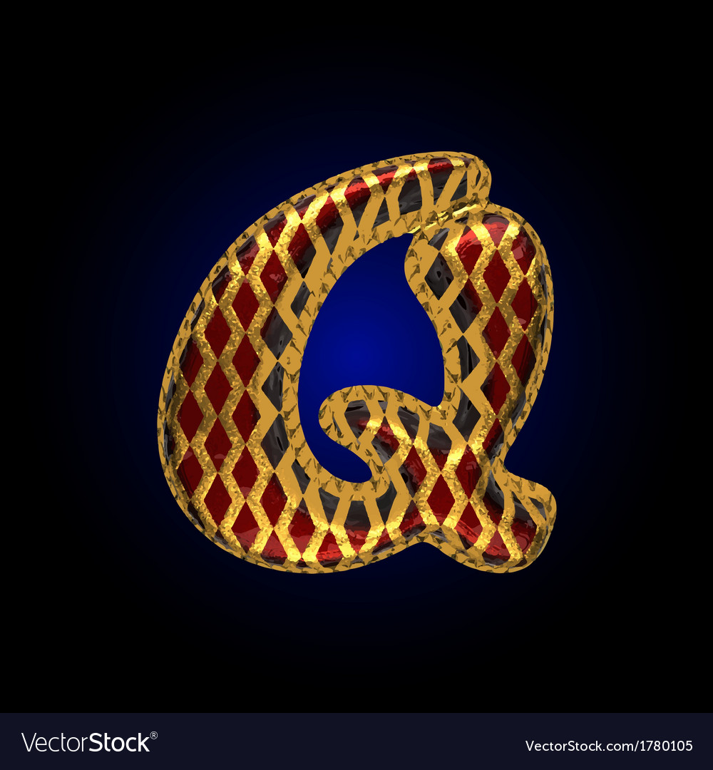 Golden and red letter q vector | Price: 1 Credit (USD $1)