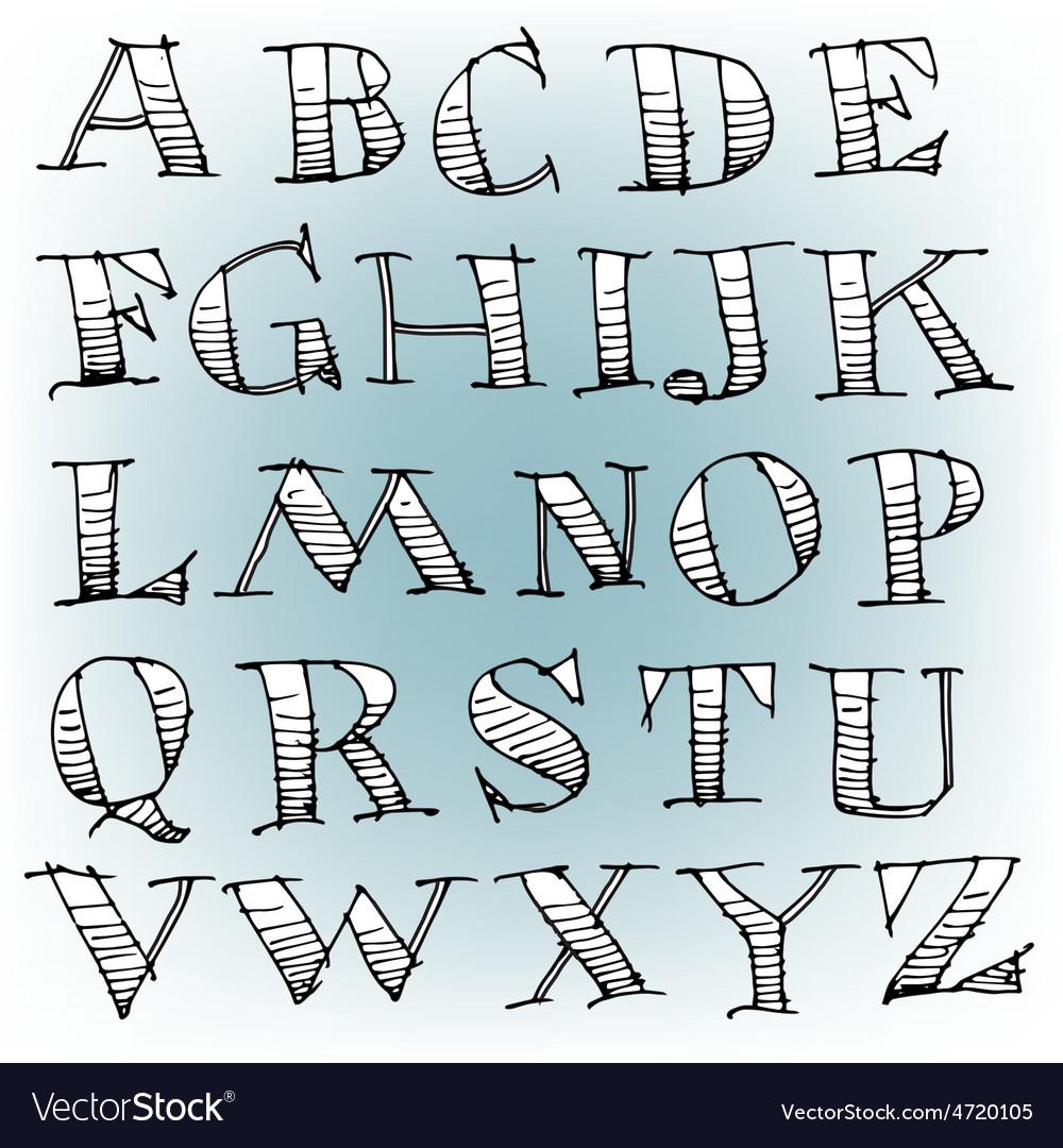 Hand drawn sketch alphabet vector | Price: 1 Credit (USD $1)
