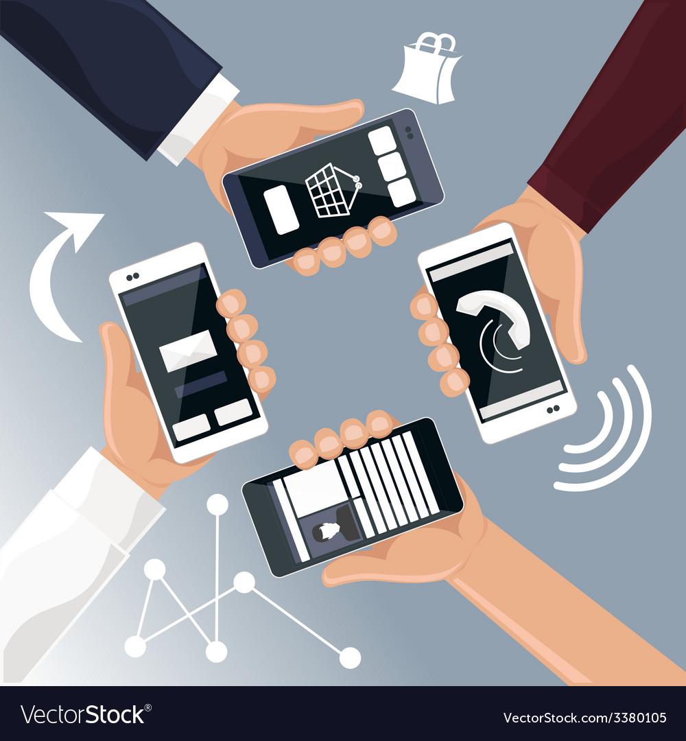 Hands holding smartphones telephones that vector | Price: 1 Credit (USD $1)