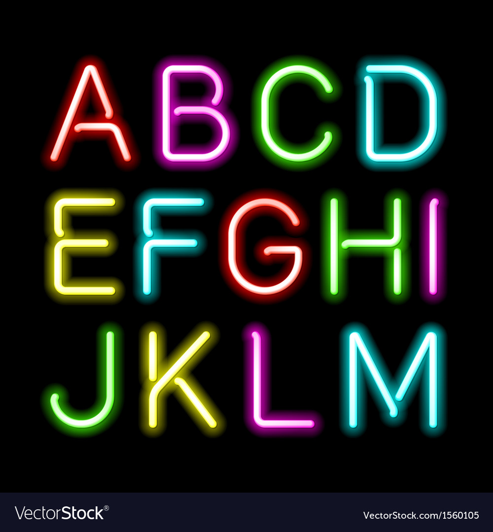 Neon glow alphabet vector | Price: 1 Credit (USD $1)
