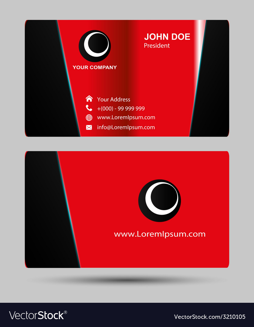 Red business cards template vector