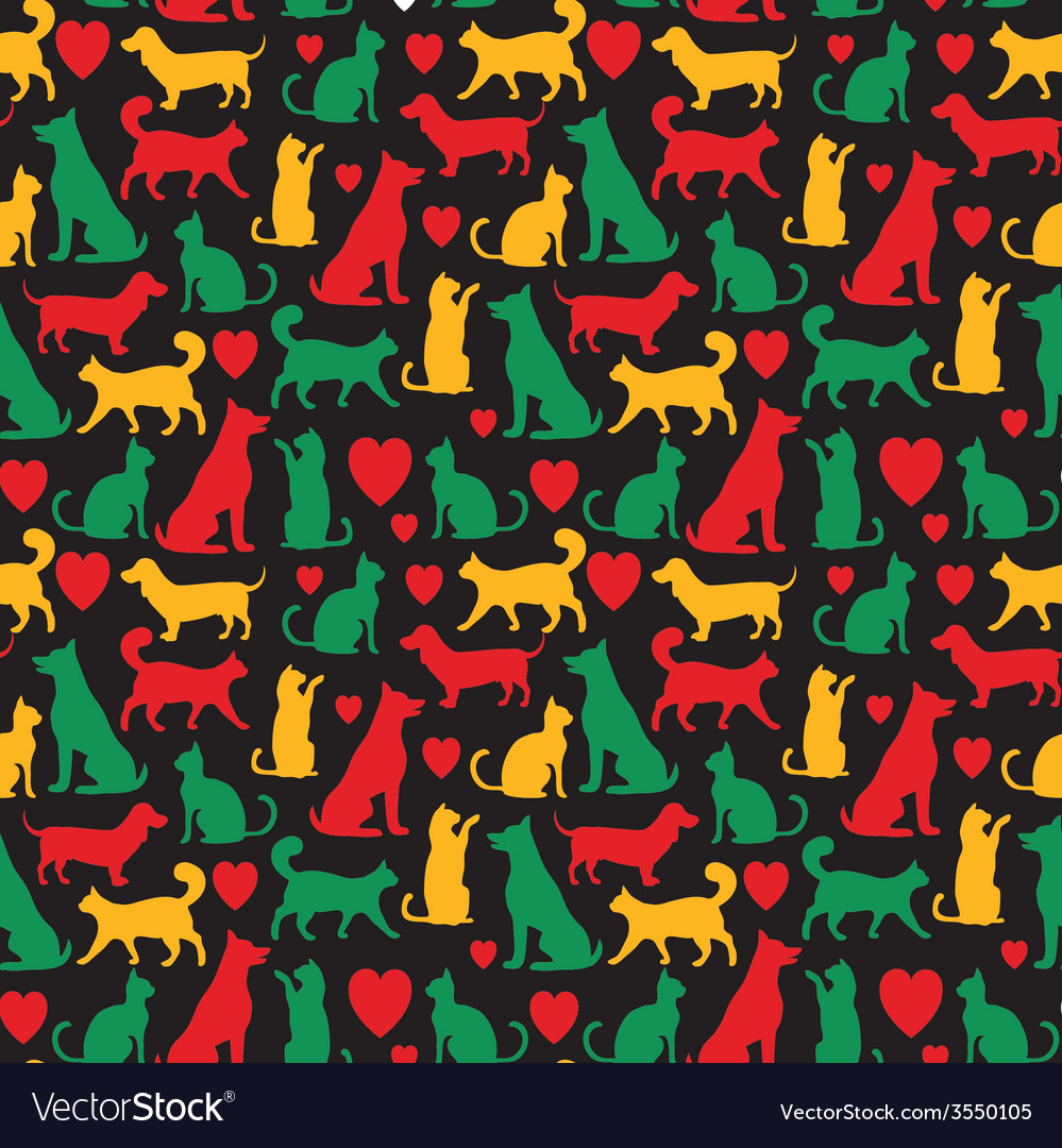 Seamless pattern with cats and dogs on black vector | Price: 1 Credit (USD $1)