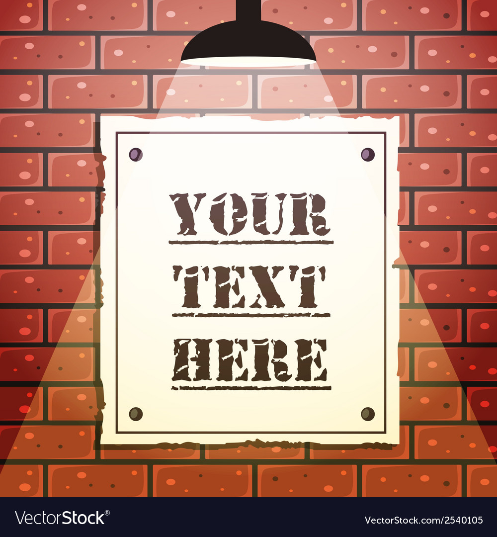 Signboard on brick wall vector | Price: 1 Credit (USD $1)